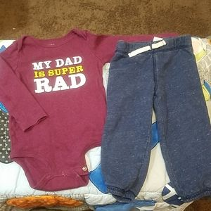 Carter's Other - Carter's Onesie Shirt & Sweat Pants 18M